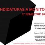 Candidaturas a monitores lectivos para o 2º semestre 2017-18